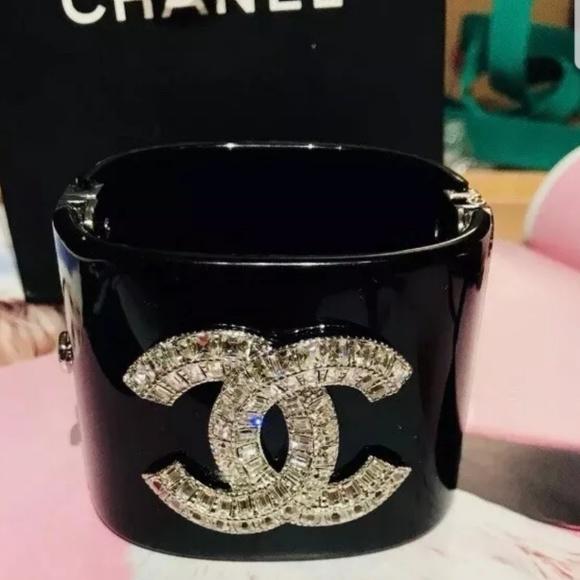 CHANEL Jewelry - CHANEL CRYSTAL SPARKLING WIDE CUFF BANGLE BRACELE